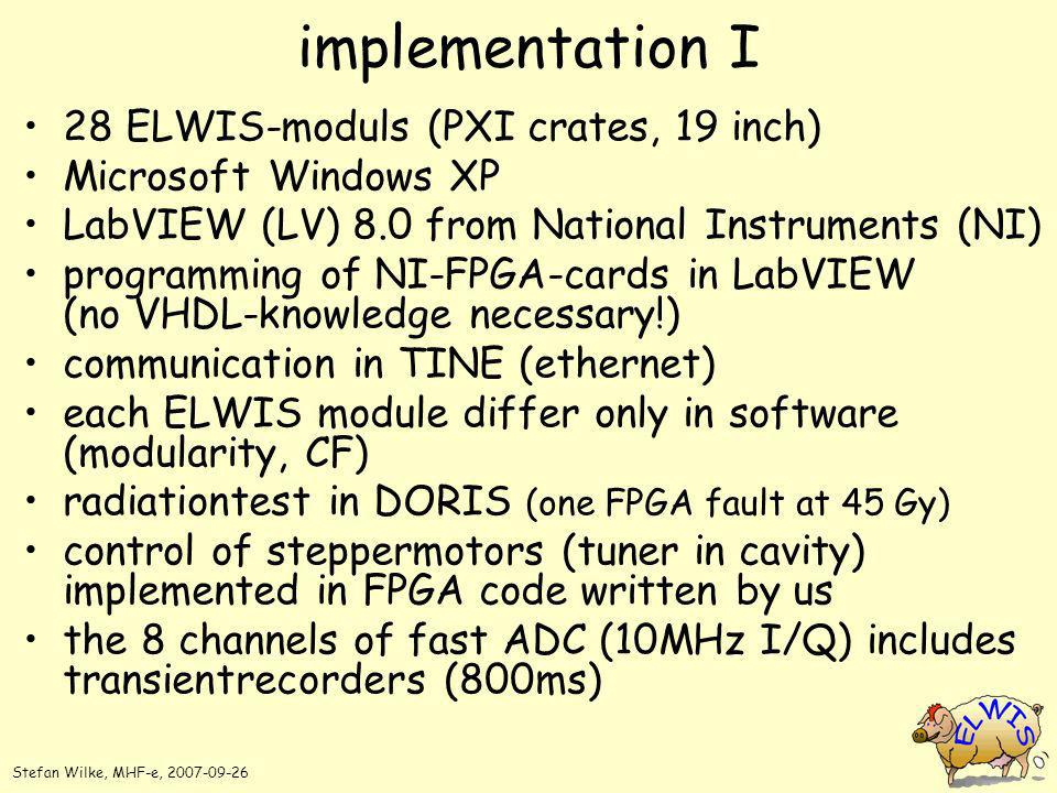 implementation I 28 ELWIS-moduls (PXI crates, 19 inch) Microsoft Windows XP LabVIEW (LV) 8.0 from National Instruments (NI) programming of NI-FPGA-car