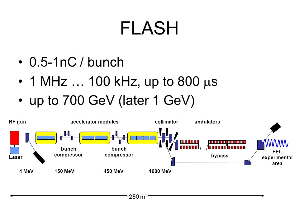 FLASH 0.5-1nC / bunch 1 MHz … 100 kHz, up to 800 s up to 700 GeV (later 1 GeV) RF gun FEL experimental area bypass 4 MeV150 MeV450 MeV1000 MeV undulatorscollimator bunch compressor Laser bunch compressor accelerator modules 250 m