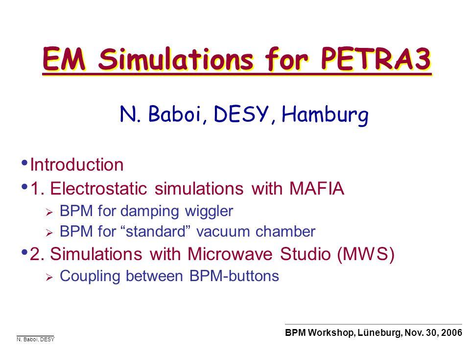 N. Baboi, DESY BPM Workshop, Lüneburg, Nov. 30, 2006 Introduction 1. Electrostatic simulations with MAFIA BPM for damping wiggler BPM for standard vac