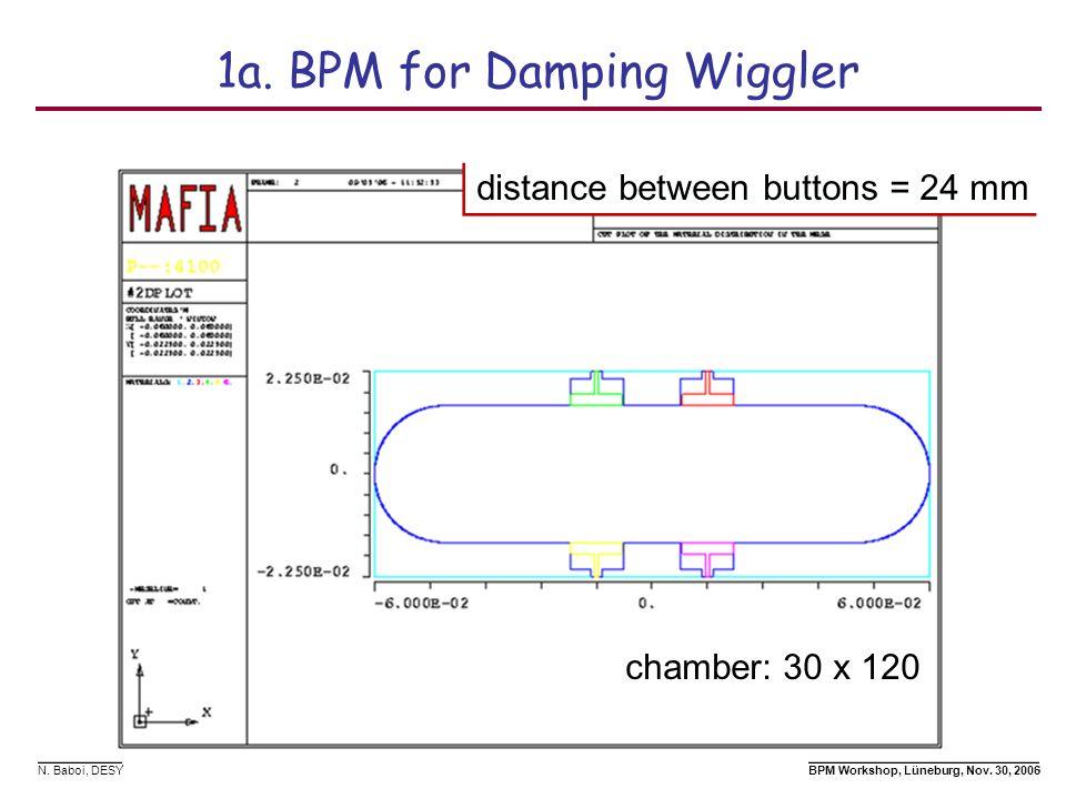 N. Baboi, DESY BPM Workshop, Lüneburg, Nov. 30, 2006 1a. BPM for Damping Wiggler chamber: 30 x 120 distance between buttons = 24 mm