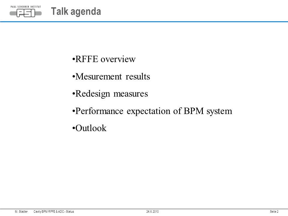 Talk agenda M.