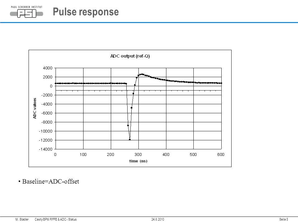 Pulse response Seite 5 Baseline=ADC-offset M. Stadler Cavity BPM RFFE & ADC - Status24.6.2010
