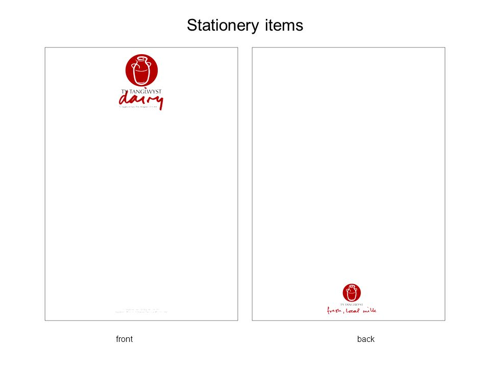 Stationery items front back