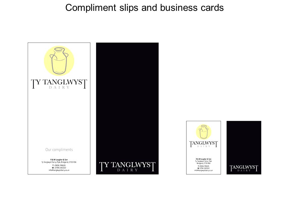 Compliment slips and business cards