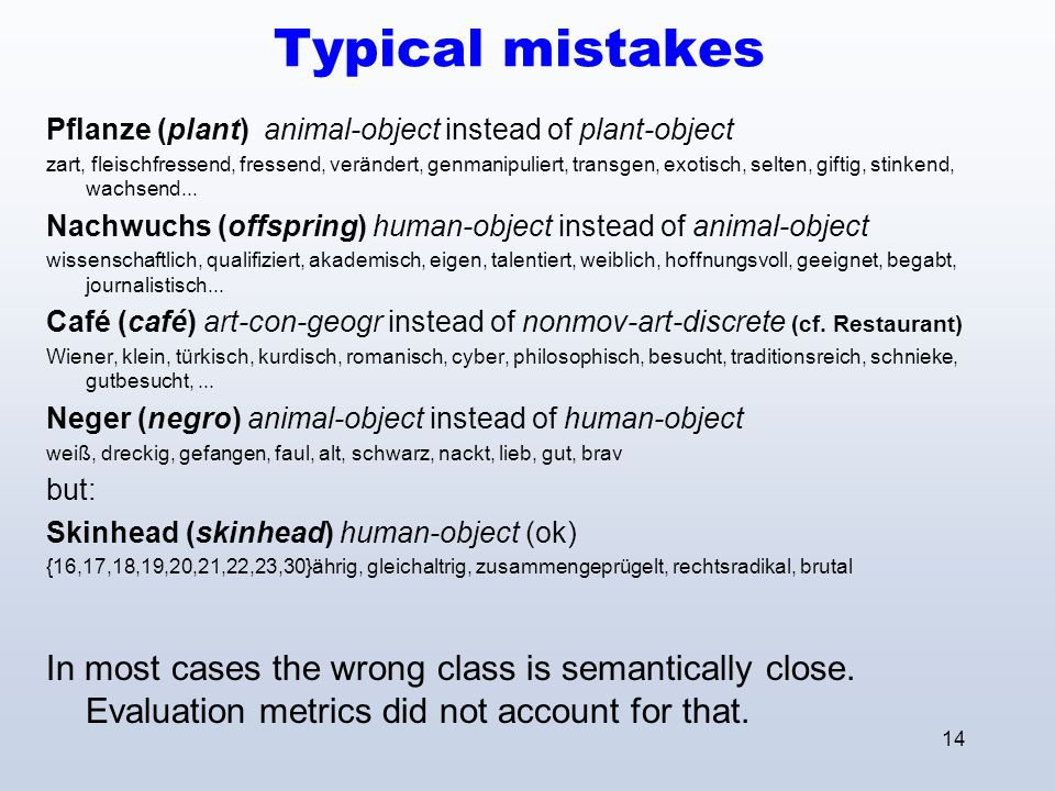 14 Typical mistakes Pflanze (plant) animal-object instead of plant-object zart, fleischfressend, fressend, verändert, genmanipuliert, transgen, exotisch, selten, giftig, stinkend, wachsend...