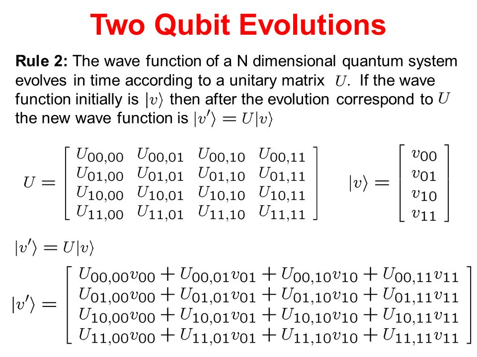 Two Qubit Evolutions Rule 2: The wave function of a N dimensional quantum system evolves in time according to a unitary matrix. If the wave function i