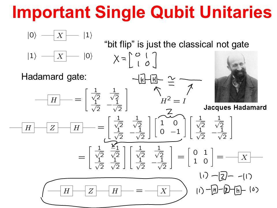 Important Single Qubit Unitaries bit flip is just the classical not gate Hadamard gate: Jacques Hadamard