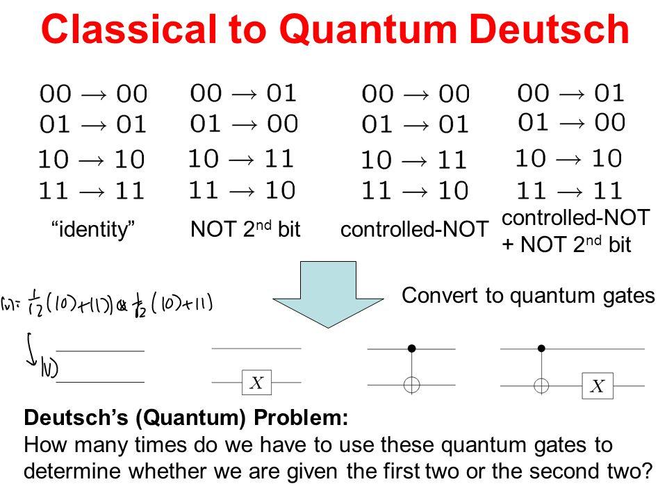Classical to Quantum Deutsch identityNOT 2 nd bitcontrolled-NOT + NOT 2 nd bit Convert to quantum gates Deutschs (Quantum) Problem: How many times do