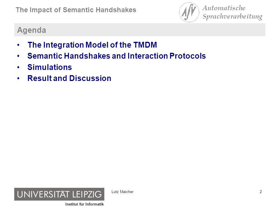 Institut für Informatik The Impact of Semantic Handshakes Automatische Sprachverarbeitung 13Lutz Maicher Local Semantic Handshakes and Interaction Protocols [subject identifier] {ns1:LutzMaicher, ns2:MaicherLutz, ns3:ML} A B [subject identifier] {ns3:ML} C [subject identifier] {ns4:Lutz, ns3:ML} D Request: Do you have a Topic Item with ns1:LutzMaicher, ns2:MaicherLutz or ns3:ML in the property [subject identifier].