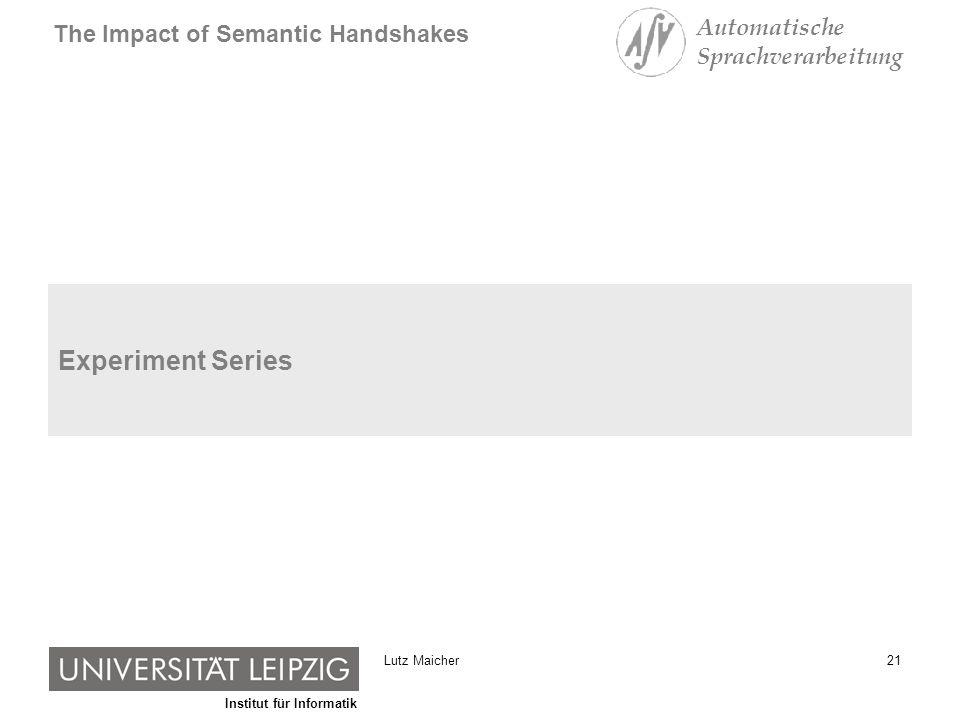 Institut für Informatik The Impact of Semantic Handshakes Automatische Sprachverarbeitung 21Lutz Maicher Experiment Series