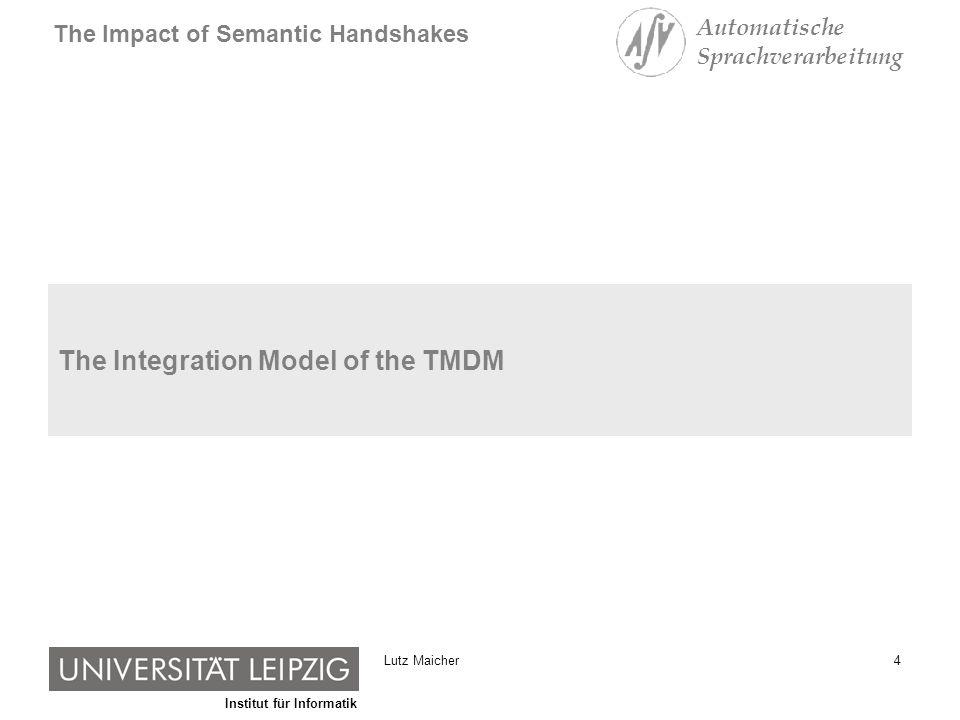 Institut für Informatik The Impact of Semantic Handshakes Automatische Sprachverarbeitung 15Lutz Maicher Local Semantic Handshakes leads to Global Integration [subject identifier] {ns1:LutzMaicher, ns2:MaicherLutz, ns3:ML, ns4:Lutz} A [subject identifier] {ns1:LutzMaicher, ns2:MaicherLutz, ns3:ML} B [subject identifier] {ns1:LutzMaicher, ns2:MaicherLutz, ns3:ML, ns4:Lutz} C D TM1 TM3 TM2 TM4 Global Integration through Local Semantic Handshakes.