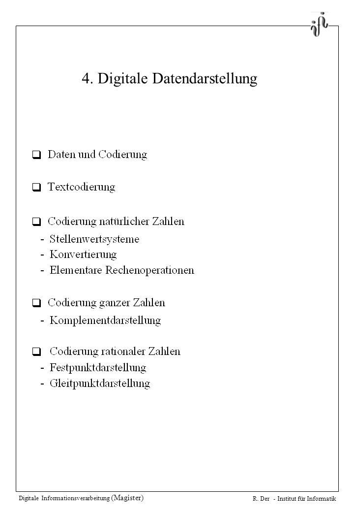 Digitale Informationsverarbeitung (Magister) R. Der - Institut für Informatik 4.
