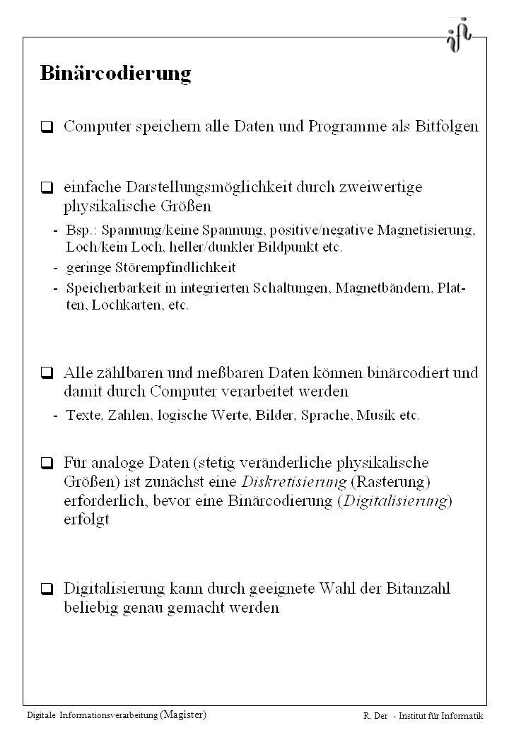 Digitale Informationsverarbeitung (Magister) R. Der - Institut für Informatik