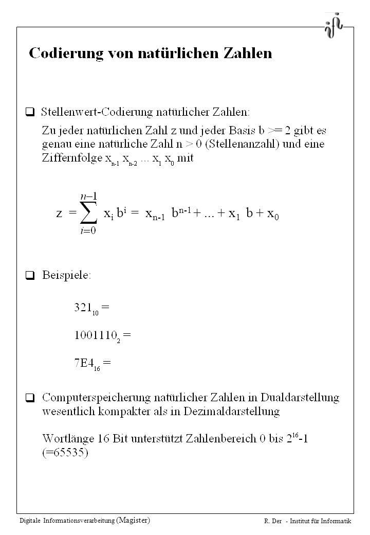 Digitale Informationsverarbeitung (Magister) R. Der - Institut für Informatik......