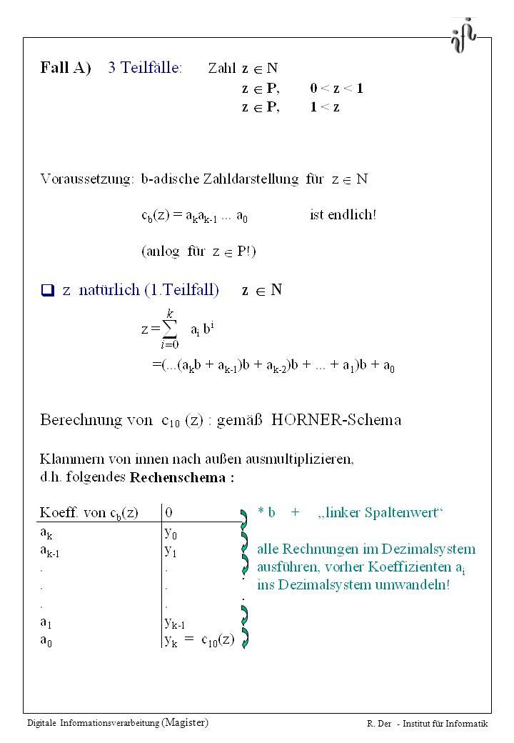Digitale Informationsverarbeitung (Magister) R. Der - Institut für Informatik....