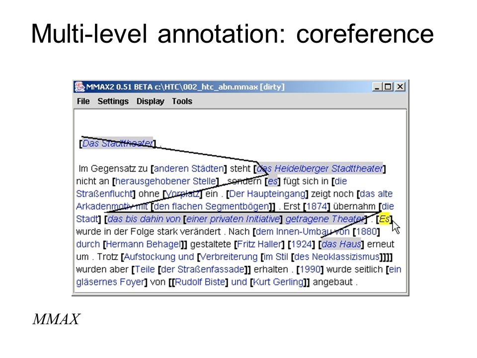 Multi-level annotation: coreference MMAX