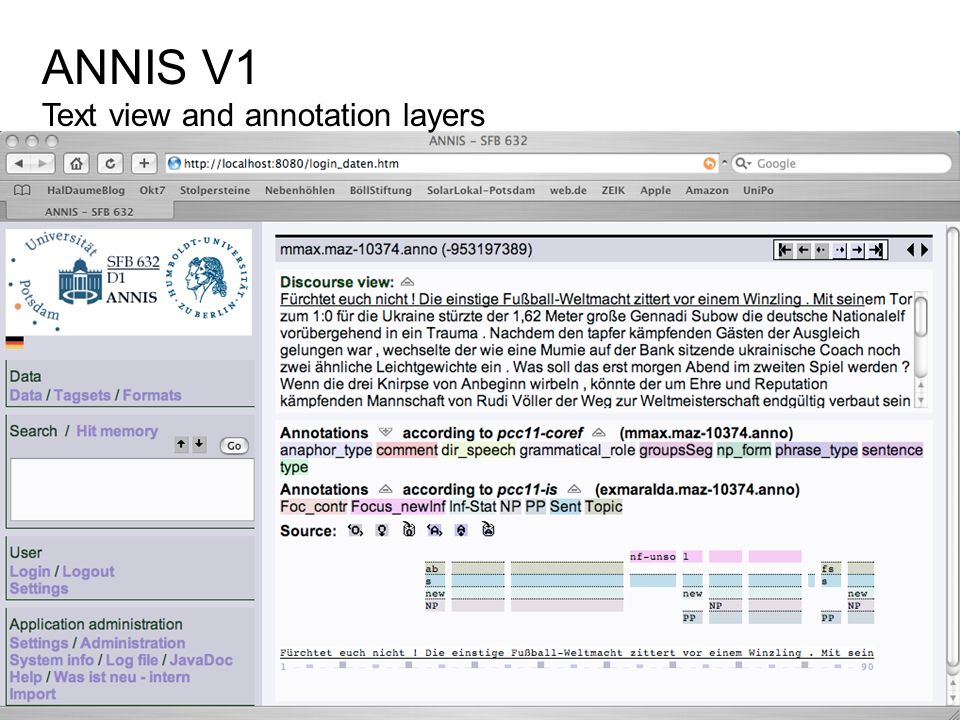 ANNIS V1 Text view and annotation layers