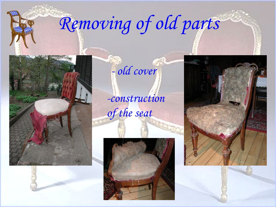 Chair before the refurnishing dirty coverbroken seat