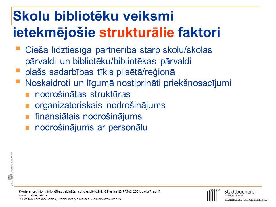 Konference Informācijpratības veicināšana skolas bibliotēkā Gētes institūtā Rīgā, 2009. gada 7. aprīlī www.goethe.de/riga © Eva fon Jordana-Bonina, Fr