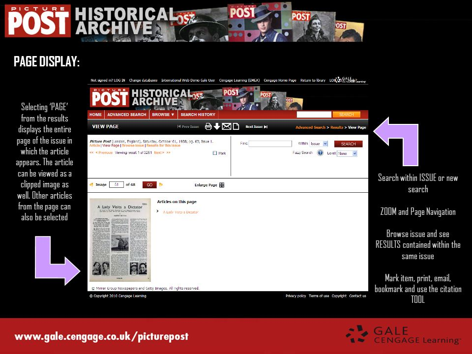 PAGE DISPLAY: Selecting PAGE from the results displays the entire page of the issue in which the article appears. The article can be viewed as a clipp
