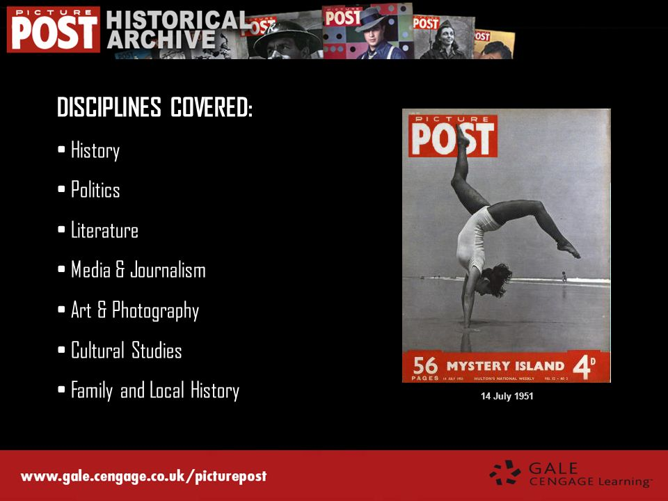 DISCIPLINES COVERED: History Politics Literature Media & Journalism Art & Photography Cultural Studies Family and Local History 14 July 1951