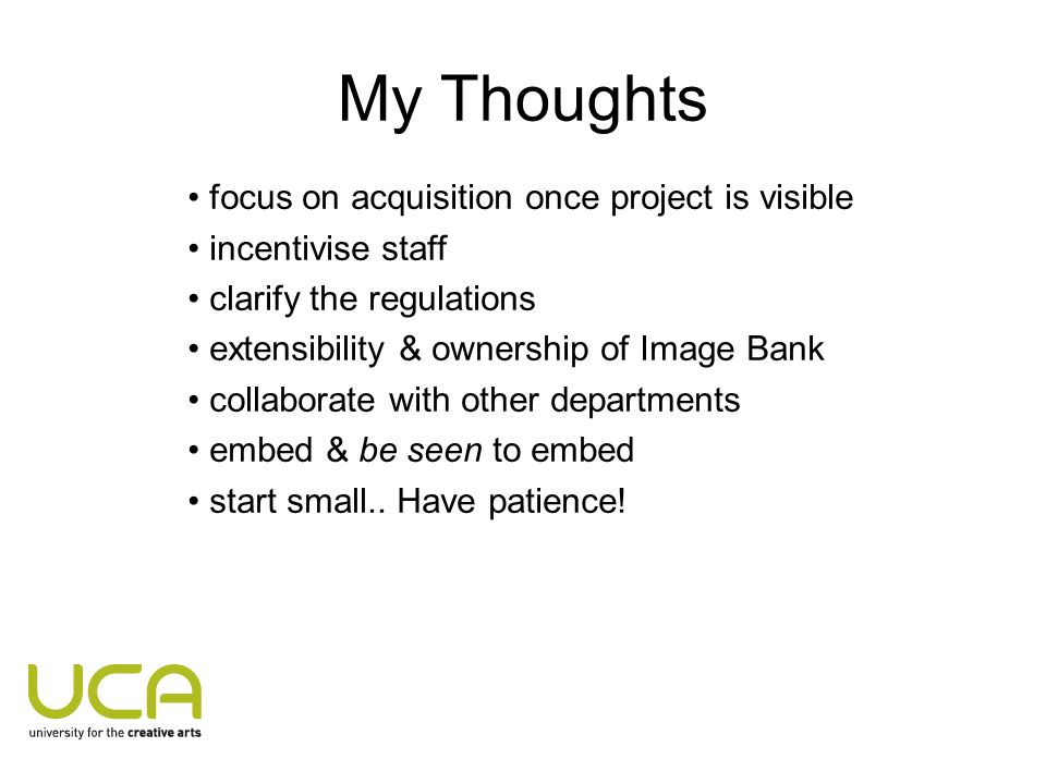 My Thoughts focus on acquisition once project is visible incentivise staff clarify the regulations extensibility & ownership of Image Bank collaborate