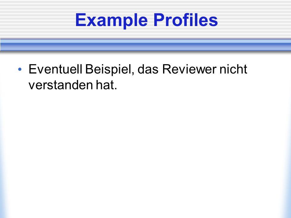 Example Profiles Eventuell Beispiel, das Reviewer nicht verstanden hat.