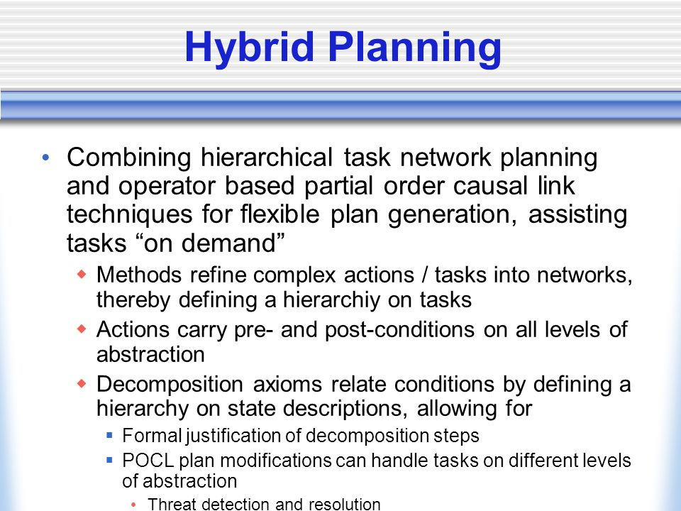 Abstraction of Resources Integration of resources in the hybrid framework Identified abstraction mechanisms Subsumption Aggregation Qualification Approximation Zwei bis drei davon als ausführliches Beispiel bringen
