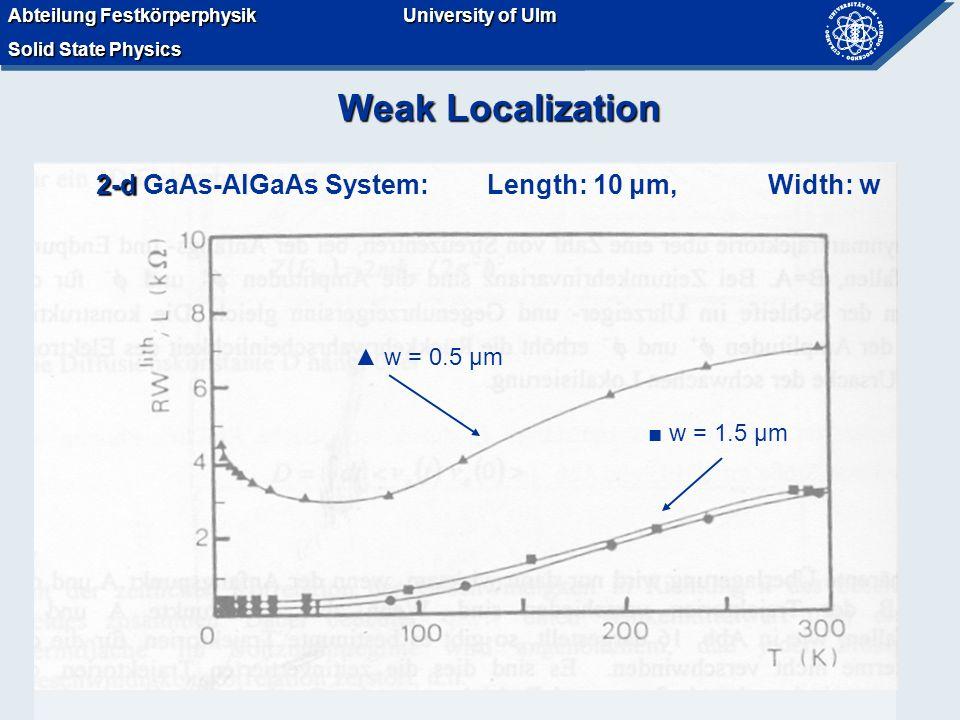Abteilung Festkörperphysik Solid State Physics University of Ulm Abteilung Festkörperphysik Solid State Physics University of Ulm Weak Localization 2-d 2-d GaAs-AlGaAs System: Length: 10 μm, Width: w w = 1.5 μm w = 0.5 μm