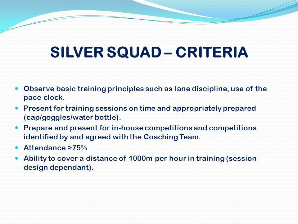 SILVER SQUAD – CRITERIA Observe basic training principles such as lane discipline, use of the pace clock. Present for training sessions on time and ap