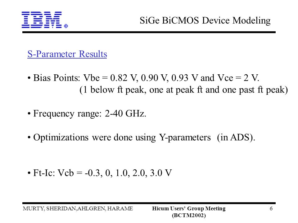 SiGe BiCMOS Device Modeling MURTY, SHERIDAN,AHLGREN, HARAMEHicum Users Group Meeting (BCTM2002) 6 S-Parameter Results Bias Points: Vbe = 0.82 V, 0.90