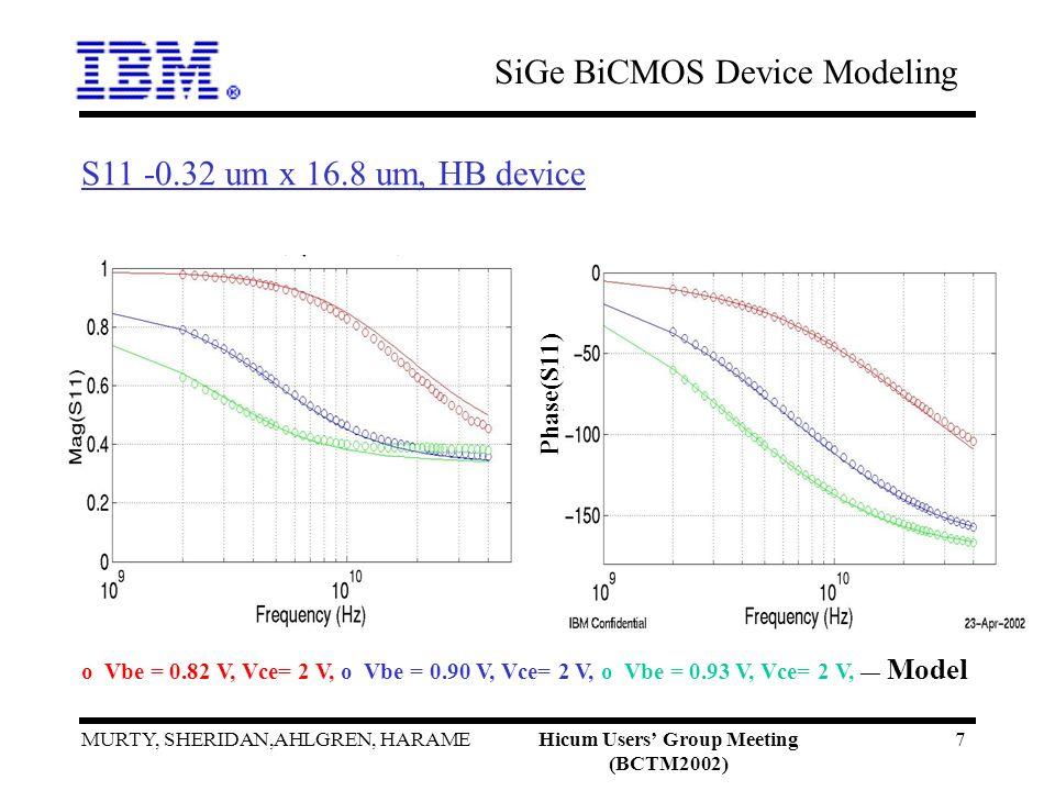 SiGe BiCMOS Device Modeling MURTY, SHERIDAN,AHLGREN, HARAMEHicum Users Group Meeting (BCTM2002) 7 Phase(S11) S11 -0.32 um x 16.8 um, HB device o Vbe = 0.82 V, Vce= 2 V, o Vbe = 0.90 V, Vce= 2 V, o Vbe = 0.93 V, Vce= 2 V, __ Model
