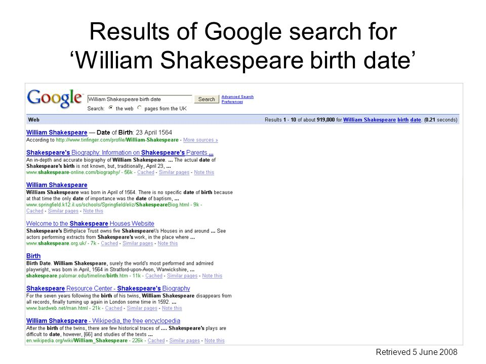 Results of Google search for William Shakespeare birth date Retrieved 5 June 2008