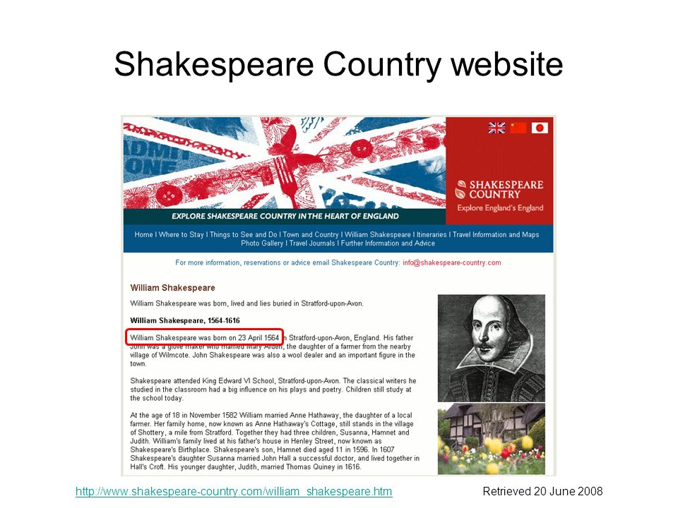 Shakespeare Country website   20 June 2008