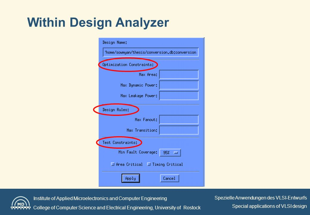 Institute of Applied Microelectronics and Computer Engineering College of Computer Science and Electrical Engineering, University of Rostock Spezielle Anwendungen des VLSI-Entwurfs Special applications of VLSI design Within Design Analyzer