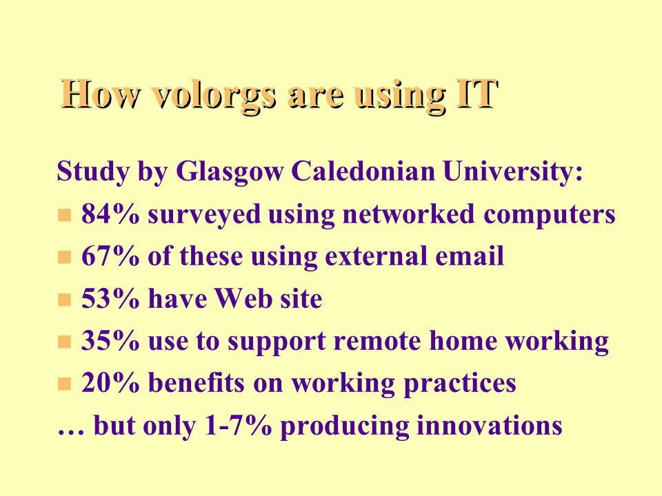 How volorgs are using IT Study by Glasgow Caledonian University: n n 84% surveyed using networked computers n n 67% of these using external email n n 53% have Web site n n 35% use to support remote home working n n 20% benefits on working practices … but only 1-7% producing innovations