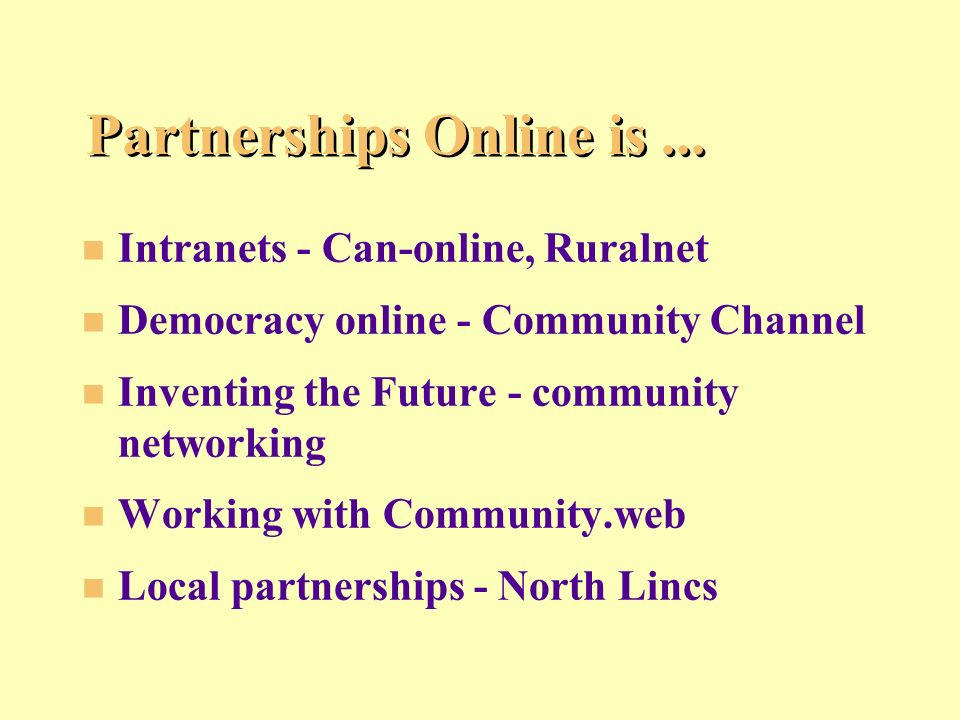 Partnerships Online is...
