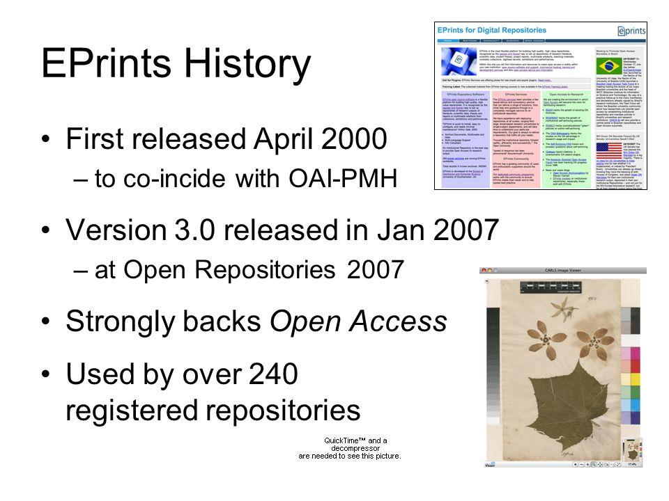 EPrints Management Open source (GNU license) EPrints development model is more centralised than DSpace / Fedora –c.f.