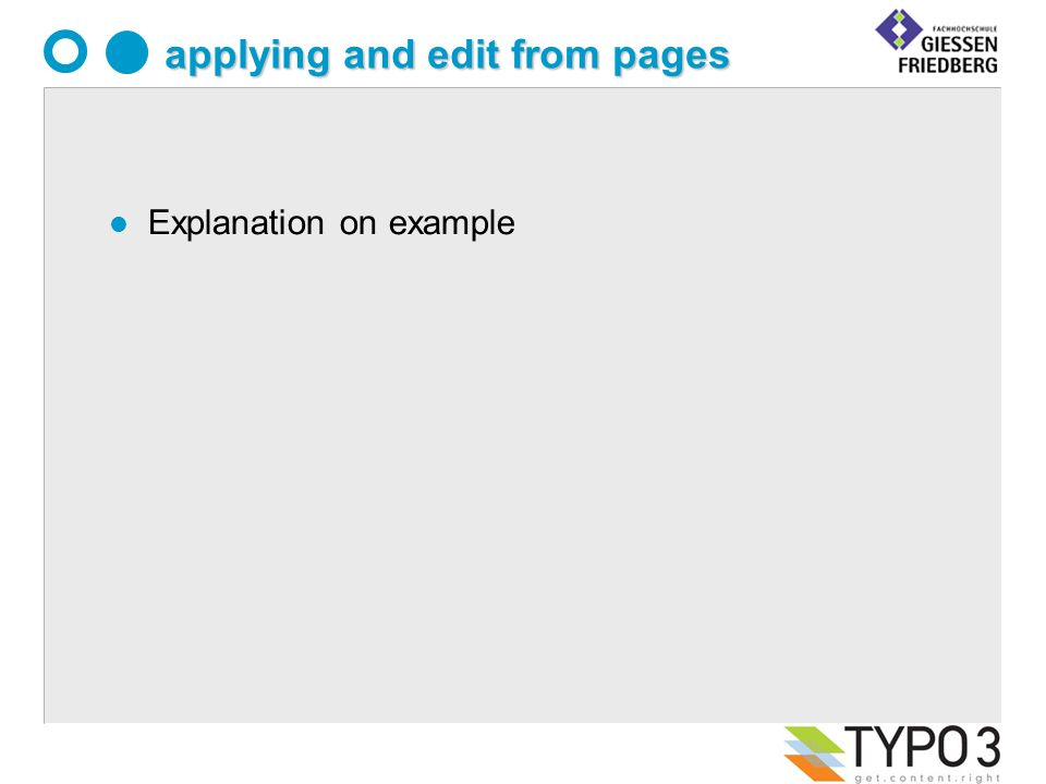 applying and edit from pages l Explanation on example