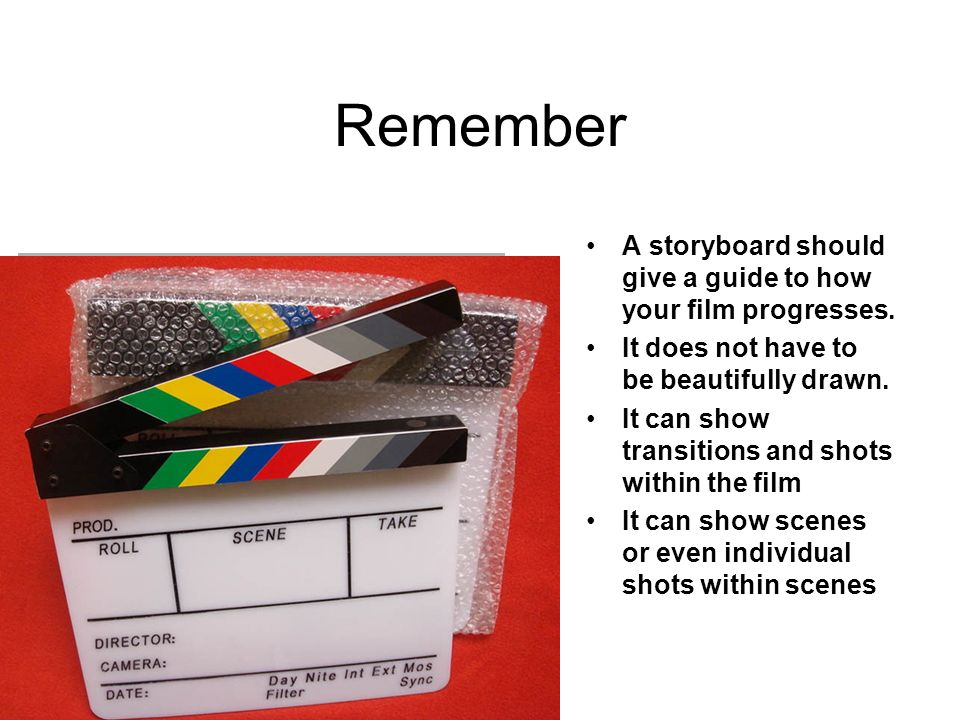 11/4/2013 Remember A storyboard should give a guide to how your film progresses.