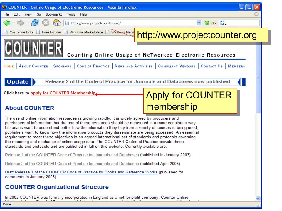 http://www.projectcounter.org Apply for COUNTER membership
