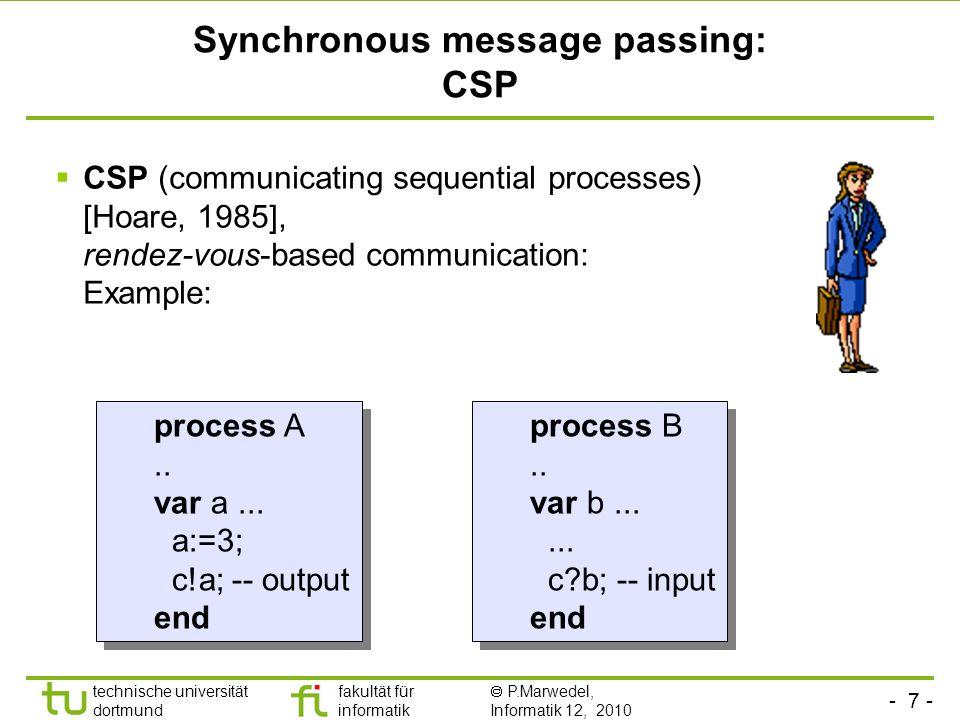 - 7 - technische universität dortmund fakultät für informatik P.Marwedel, Informatik 12, 2010 Synchronous message passing: CSP CSP (communicating sequ