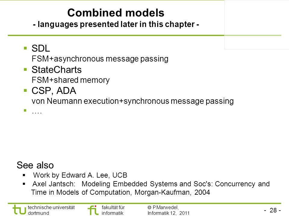 - 28 - technische universität dortmund fakultät für informatik P.Marwedel, Informatik 12, 2011 Combined models - languages presented later in this cha