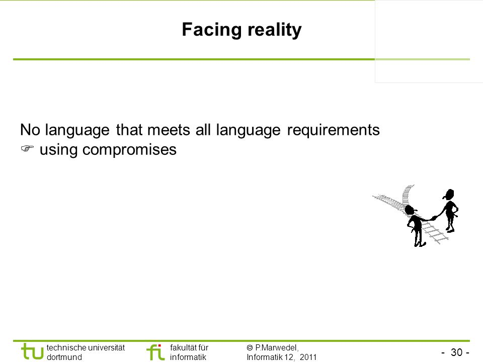 technische universität dortmund fakultät für informatik P.Marwedel, Informatik 12, 2011 Facing reality No language that meets all language requirements using compromises