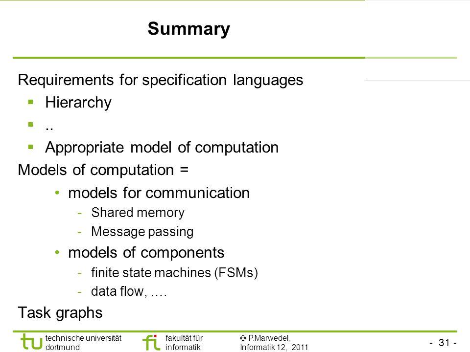- 31 - technische universität dortmund fakultät für informatik P.Marwedel, Informatik 12, 2011 Summary Requirements for specification languages Hierar