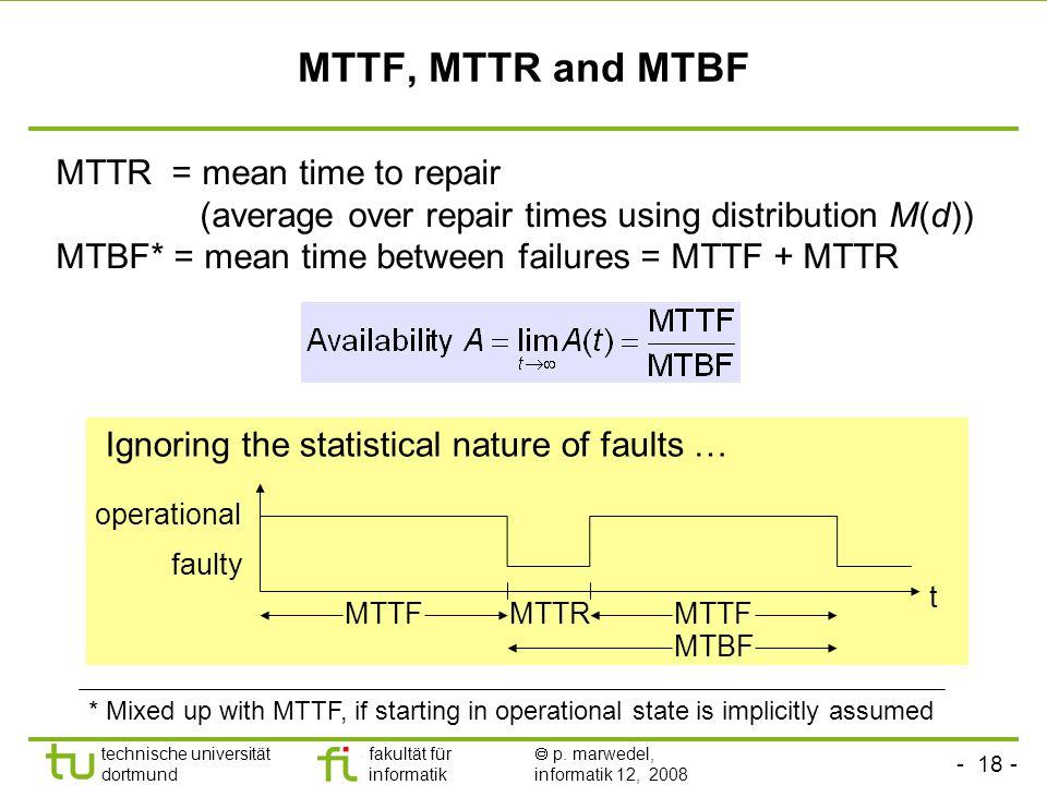 - 18 - technische universität dortmund fakultät für informatik p. marwedel, informatik 12, 2008 MTTF, MTTR and MTBF Ignoring the statistical nature of