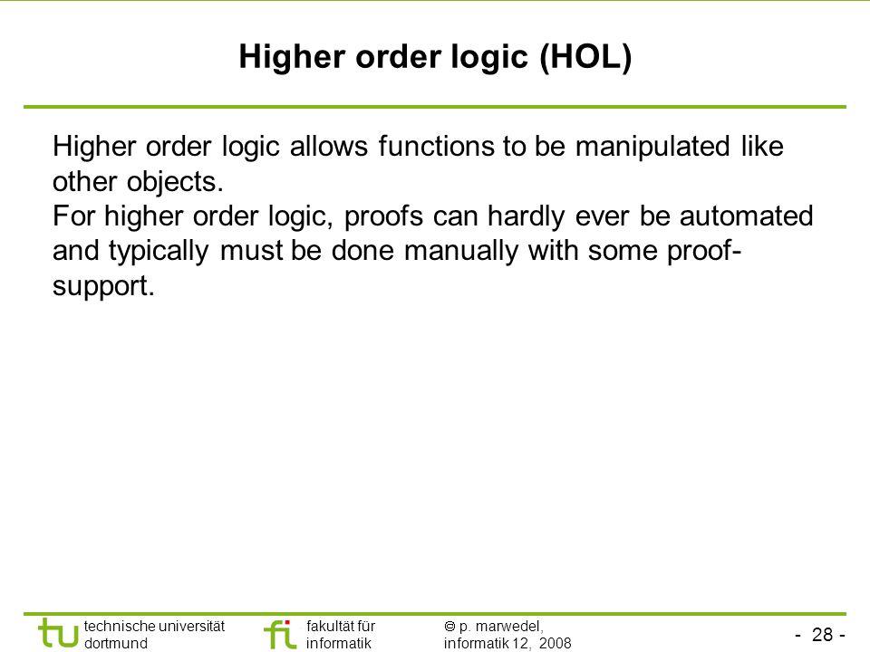 - 28 - technische universität dortmund fakultät für informatik p. marwedel, informatik 12, 2008 Higher order logic (HOL) Higher order logic allows fun