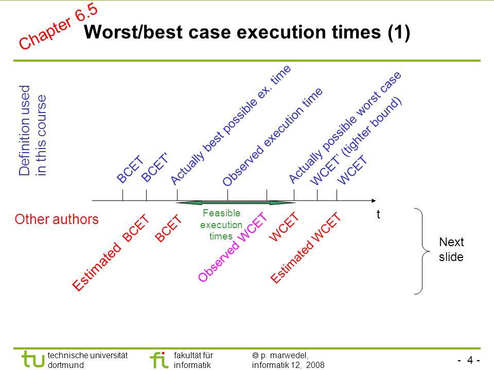 - 4 - technische universität dortmund fakultät für informatik p. marwedel, informatik 12, 2008 Worst/best case execution times (1) WCET Actually possi