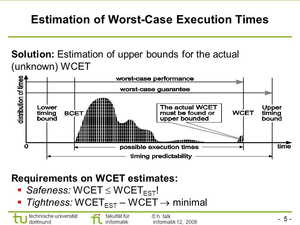 - 5 - technische universität dortmund fakultät für informatik p. marwedel, informatik 12, 2008 Estimation of Worst-Case Execution Times Solution: Esti
