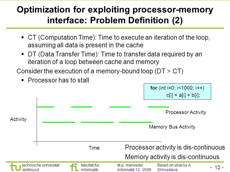 - 11 - technische universität dortmund fakultät für informatik p. marwedel, informatik 12, 2009 Optimization for exploiting processor-memory interface